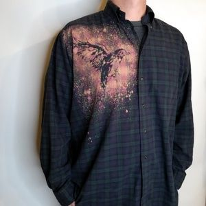 Custom Bird Shirt Casual Bleach Dyed Plaid Men's